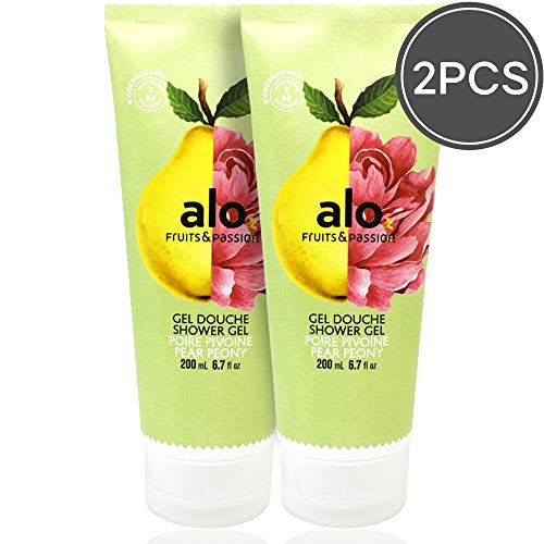 (FRUITS & PASSION) SHOWER GEL [PEAR PEONY] 200ML 2 pcs Bundle, Shower Gel with vitamin E and Antioxidant product, biodegradable formula (200ML / 6.76 Fl. Oz) by ALO