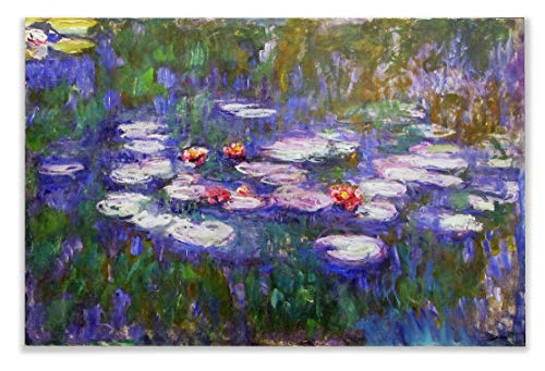 Monet Wall Art Collection Water Lilies, 1916 by Claude Monet Canvas Prints Wrapped Gallery Wall Art | Ready to Hang 24X32, 50MONET