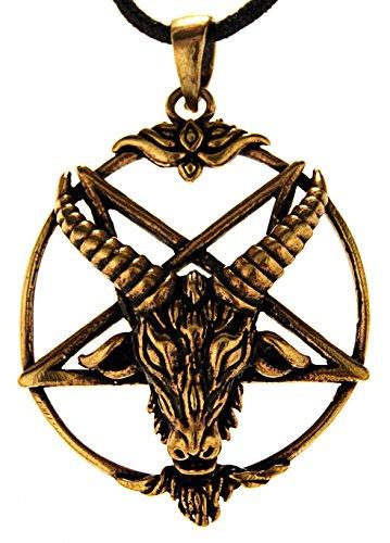 Kiss of Leather Pentagramm Anhänger aus Bronze mit Baumwollband