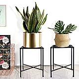 Metal Plant Stand, KABB Iron Art Flower Pot Holder, Modern Metal Display Potted Rack,Rustproof Flower Pot Stand | Decorative Plant Holder for Home, Garden, Patio, Plant Lovers, Housewarming (2 Pack)