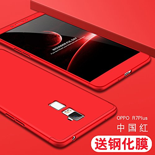 JMGoodstore Hülle Kompatibel Oppo R7 Plus,+Panzerglas Bildschirmschutzfolie,3 in 1 Ultra Dünn 360 Full Body Anti-Kratzer Hart PC Skin Glatte Rückseite Bumper Rot