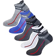 Aaronano 5 Pairs Mens Half Cushion Ankle Socks Low Cut Breathable Athletic Socks Size (7-12)