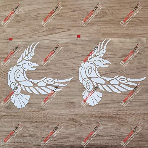 2X White 8'' Odin Raven Decal Sticker Viking Norse Nord Norway Car Vinyl Celtic Knot b