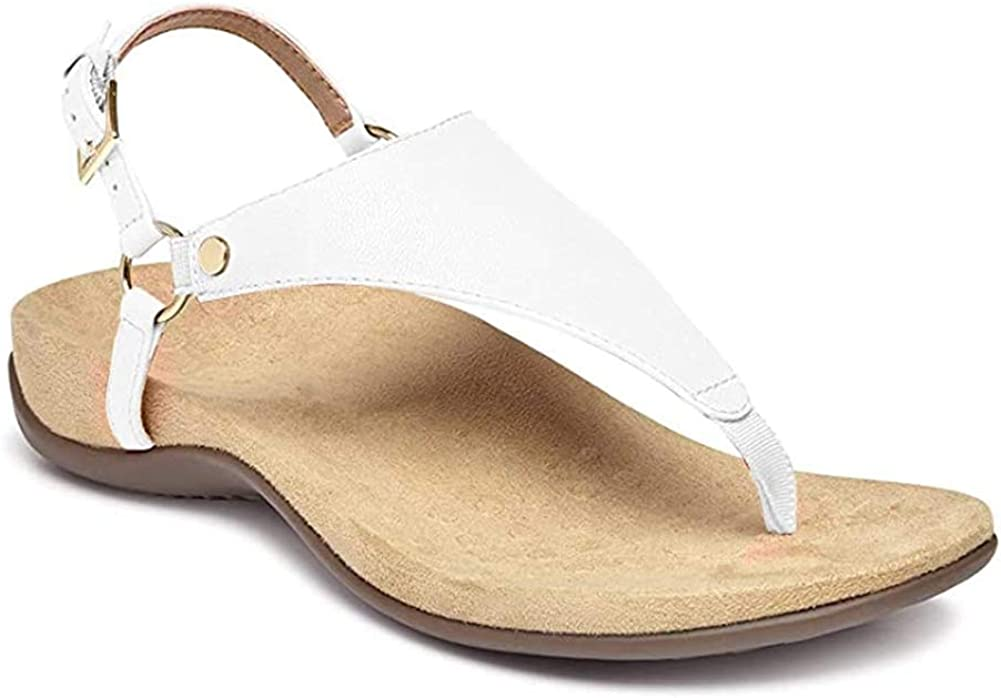 Erocalli Women's Orthotic Arch Support Sandals Comfortable Summer Flats T Strap Flip Flops Sandals