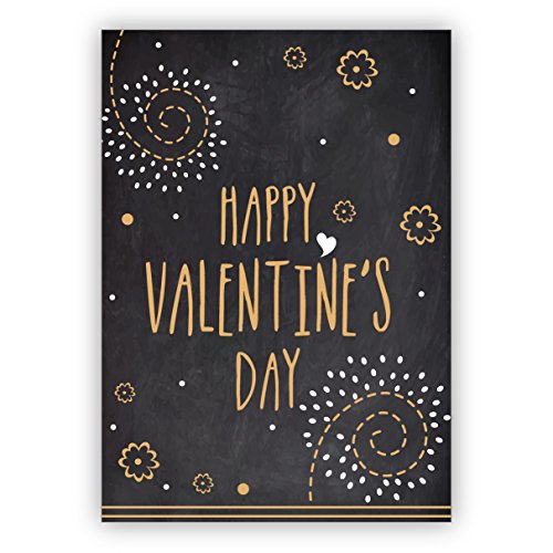 1 Retro Liebeskarte/Valentinskarte in Tafel Optik: Happy Valentine's day • edle Gratulationskarte mit Umschlag als lieber Gruss