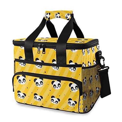 JUMPBEAR Grand sac à déjeuner isotherme réutilisable et résistant aux fuites - Panier isotherme de qualité supérieure pour pique-nique, voyage, camping - Motif panda mignon
