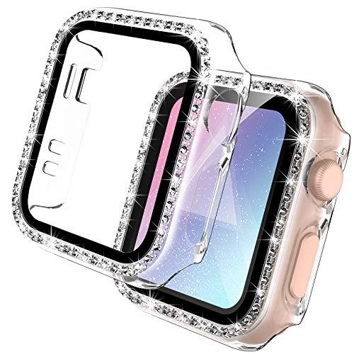 TOCOL Paquete de 2 Estuches Transparentes Bling con Protector de Pantalla de Vidrio Templado Integrado Compatible con Ap Watch Series 3 2 1 42mm PC Cubierta Protectora General ultradelgada