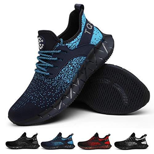 tqgold Sportschuhe Herren Damen Laufschuhe Turnschuhe Leichte Atmungsaktive Sneaker(Blau,Größe 39)