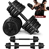 MOVTOTOP Dumbbells Set, 2 in 1 Barbell Weight Set Solid Adjustable Weight Dumbbells up to 66LBS with Connecting Rod & Anti-Slip Weight Dumbbell Set for Men & Women Strength Training Workout Gym
