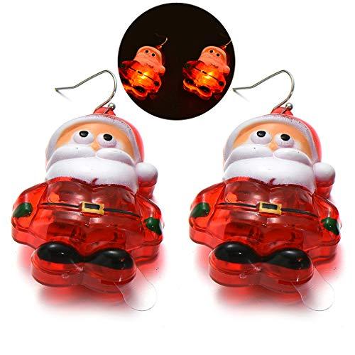 ZOYLINK Boucles D Oreilles De Noël Allumer Des Boucles D Oreilles Boucles D Oreilles Créatives Pour Les Vacances (Santa Claus)