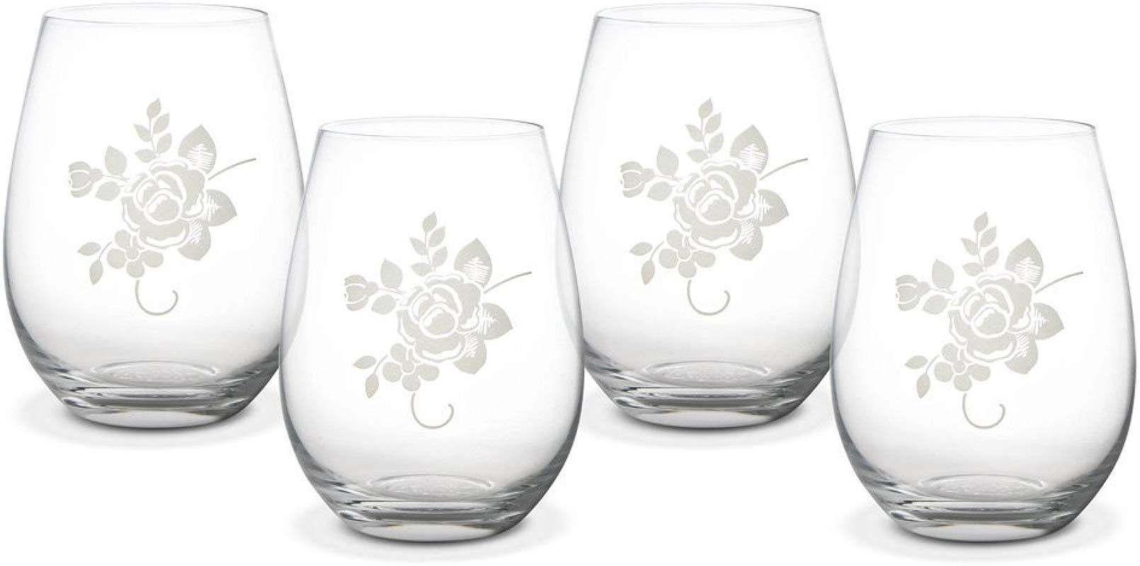 Pfaltzgraff Tea Rose All Purpose Stemless Wine Glass 20 Ounce Set Of 4