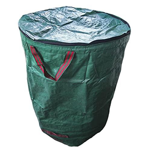 FUFRE Gartenabfallsacke Selbstaufstellend Hohe Kapazität Faltbar Laubsäcke, Wasserdichtes Gartenabfallbehälter Wiederverwendbare Gartensack mit Griffe und Deckel für Laub & Grünschnitt (120L)