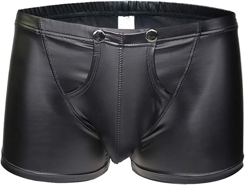 TESOON Mens Imitation Leather Underwear Sexy Boxer Briefs