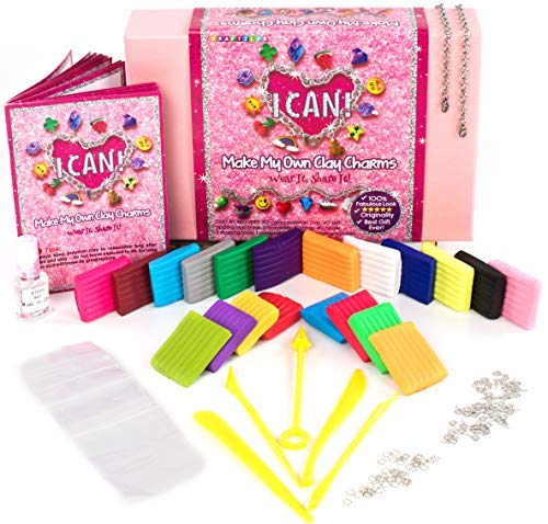 KRAFTZLAB Make My Own Clay Charms Craft Kit for Girls Includes 14.1 OZ Clay, 20, 2 Charm Bracelets and Much More - Polymer Charms Clay Set and Ideal Crafts Gift for Kids