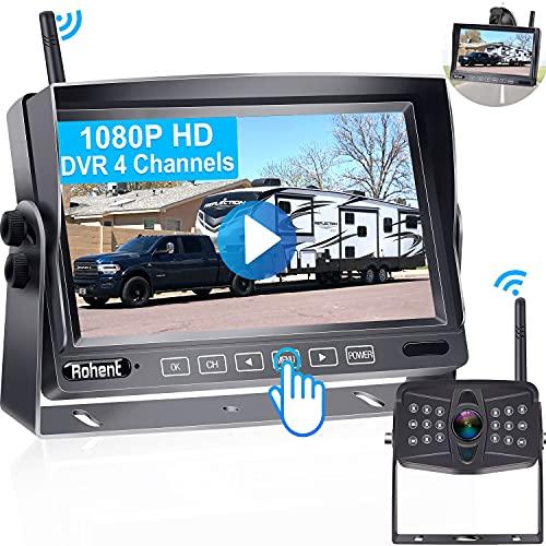 RV Backup Camera Wireless HD 1080P Rohent R7 Inch DVR Touch Key...