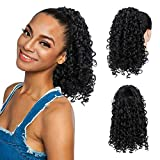 PEACOCO Curly Ponytail Extension Drawstring Ponytails for Black Women Synthetic Curly Drawstring Ponytail with 2 Clips on Ponytails for Women (1B)