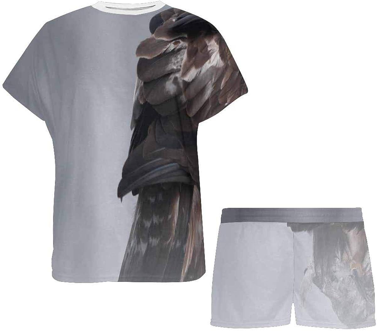 INTERESTPRINT Eagle in The Wilderness Women's Lightweight Pajama Set, Short Summer Pjs