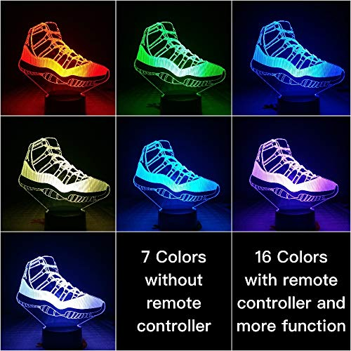 Sproud Shoes Lampe - S7 16 Farbe mit Fernbedienung Schuhe Basketball Lampe Nacht Dekor / 3D Illusion Touch Sensor Jungen Kinder Geschenk/LED Nachtlicht