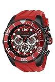 Invicta Men's 50mm Pro Diver Red Silicone Strap Quartz Chronograph Red Black Dial Model (33821)