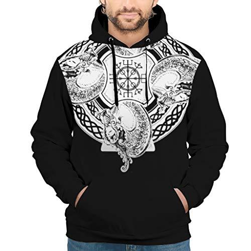 Generic Brand Viking Tattoo Sudaderas con capucha para hombre – Sólido Cordón Suelto Sudaderas Blanco 2XL