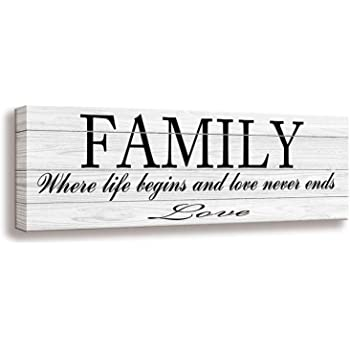 Amazon Com Quotes Wall Art Decor Family Decorative Signs Inspirational Motto Canvas Prints With Solid Wood Inner Frame Family 6 X 17 Inch Posters Prints