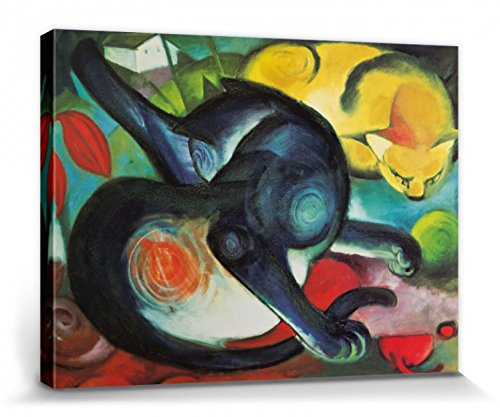 1art1 Franz Marc - Zwei Katzen, Blau Und Gelb, 1912 Bilder Leinwand-Bild Auf Keilrahmen | XXL-Wandbild Poster Kunstdruck Als Leinwandbild 40 x 30 cm