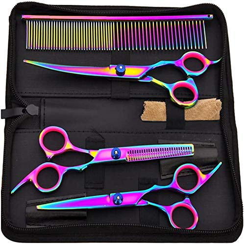 Bestmemories Dog Grooming Scissors Set Colorful Pet Scissors Set Pet Hair Cutting Teeth Shear Set Pet Grooming Curved Scissors Kit 7' Stainless Steel Hair Thinning Grooming Shear Comb Set