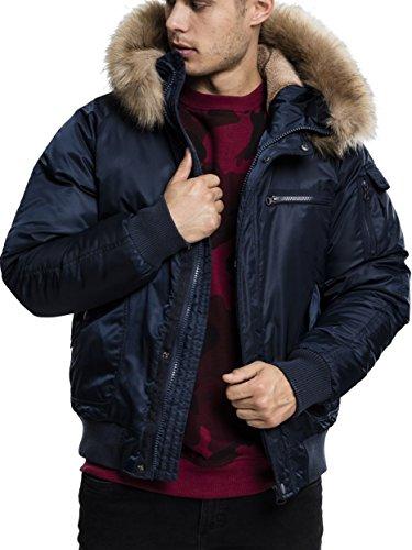 Urban Classics Herren Hooded Heavy Fake Fur Jacket Bomber Jacke, Blau (Navy 155), Small