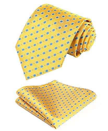 Hisdern HISDERN Extra lange Blumenpunkte Krawatte Taschentuch Herren Krawatte & Einstecktuch Set Set (Gelb & Blau)