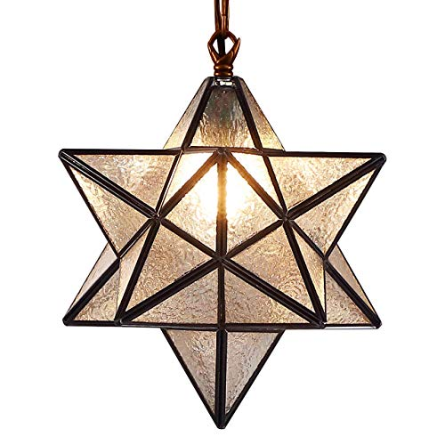 Bieye L10076 Moravian Star Tiffany Style Stained Glass Ceiling Pendant Hanging Lamp with 12-inch Wide Lampshade, 51-inch Tall (Iridescent Glass)