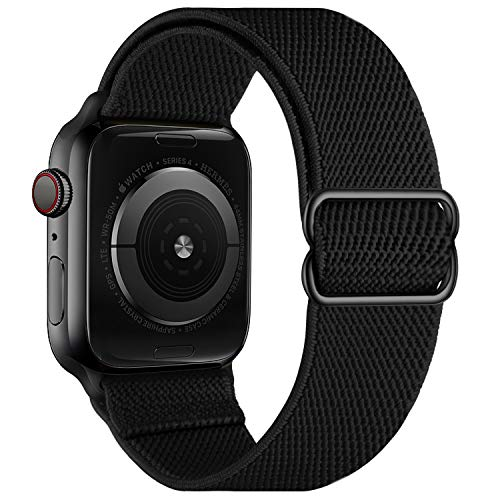 OXWALLEN Stretchy Nylon Solo Loop Compatible with Apple Watch Bands 42mm 44mm, Adjustable Elastic Braided Stretches Sport Women Men Strap for iWatch SE Series 6/5/4/3/2/1,Black