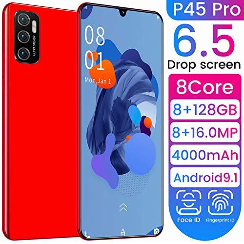 Teléfono móvil, P45Pro 8 + 128 GB 6.5 Pulgadas Waterdrop Screen Display Smartphone con cámara AI de 16MP, Android 9.1 Dual SIM -Teléfono móvil Gratuito 4005mAh reconocimiento de Rostro+Huella Digital