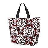 FJJLOVE Bolso de hombro Bold Burgundy Red Floral Pattern Bolso de gran capacidad Bolso de mano ligero Bolso de playa de viaje para mujer