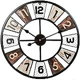 Orologio da parete da giardino per esterni da 23 pollici, orologio da parete per esterni in metallo retrò con quadrante aperto grande, orologio da parete per esterni resistente alle intemper