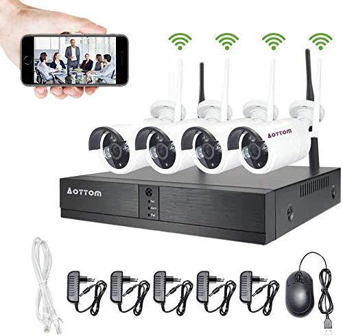 Aottom Kit Camaras Seguridad Vigilancia WiFi, WiFi Kit Videovigilancia, 4CH 1080P NVR+ 4 720P Cámaras, Sistemas de Seguridad Inalambrico, Visión Nocturna, Detección Movimiento, App da Remoto, sin HDD