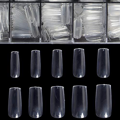 Clear Full Cover Nails - Fake Nails Square Shaped Acrylic Nails BTArtbox 500pcs False Nail Tips with Case for Nail Salons and DIY Nail Art, 10 Sizes