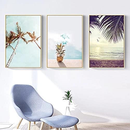 Póster de piña e impresión Playa Mar Paisaje Arte de la pared Pintura en lienzo Imágenes decorativas nórdicas Decoración del hogar Sin marco 40X60X3Pcs Sin marco