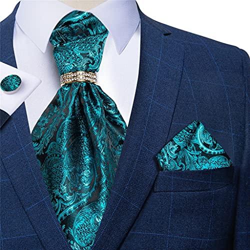 DYXYH Hombres Treal Blue Vintage Cravat Formal Business Wedding Silk Silk Necktie Handkerchief Gemelos Cumplidos de Corbata (Color : Teal Blue, Size : One Size)