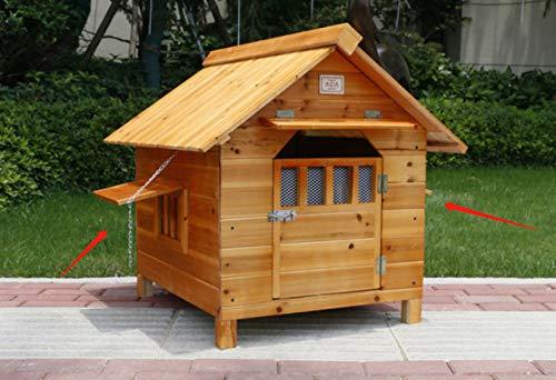 Kennel LKU Hondenhok buiten massief hout waterdicht lekvrije hondenkooi hondenkattenhuis met deuren en ramen, 1 deur 2 raam, XXL 124x100x116cm