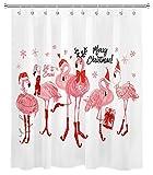 Weihnachts Flamingo Duschvorhang Netter Rosa Flamingo Tragen Roter Weihnachtshut Stocking Schneeflocke Duschvorhang für Badezimmerdekoration Set mit Haken 72x72 Zoll wasserdichtes Polyestergewebe