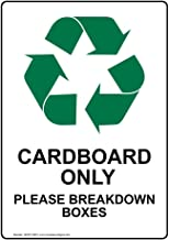 Cardboard Only Please Breakdown Boxes Sign with Symbol, 14x10 in. Aluminum for Recycling/Trash/Conserve by ComplianceSigns
