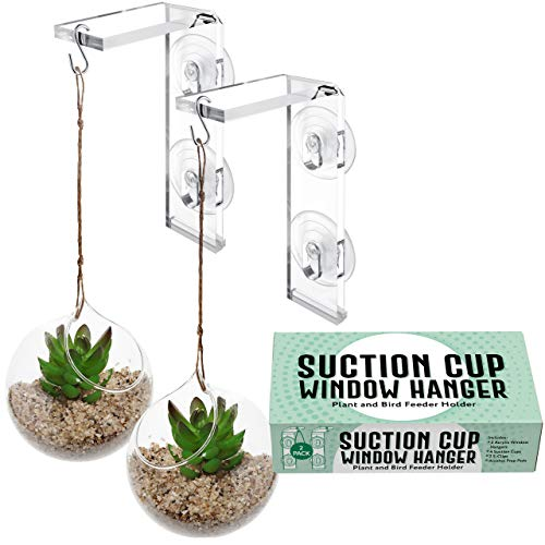 2-Pack Suction Cup Window Hanger – Hang Plants Indoors or Outdoors, Convenient Window Hanger for Bird Feeders, Ornaments and Wind Chimes - Strong Suction Cups, Made from Weather-Resistant Acrylic