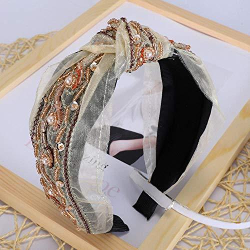 Empty Femmes Sauvages Mode Main Broderie Dentelle Croix Bande de Cheveux Bowknot Bandeau Cheveux Accessoires Large-Beige