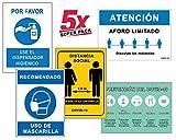 Super Pack 5 Segnali Coronavirus | Dispenser igienico + distanza sociale + maschera + Aforo + guida | Cartelli per aziende, negozi, uffici | 21 x 30 cm