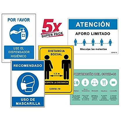 Super Pack 5 Señales Coronavirus | Señal de Dispensador + Distancia + Mascarilla + Aforo + Higiene Manos | Carteles para…