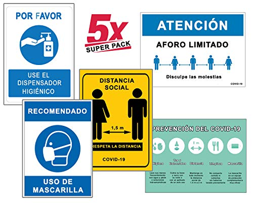 Super Pack 5 Segnali Coronavirus, Segnale di Dispenser igienico + Distanza Sociale + Maschera + Aforo + Linee guida / Cartelli per aziende, commerci, uffici, 21 x 30 cm