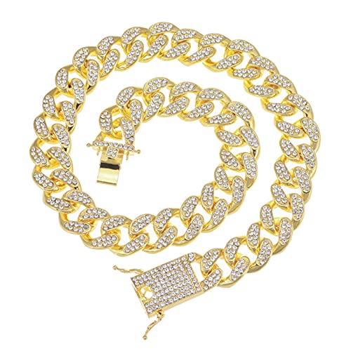SONGK 18MM Color Plateado Pesado Completo Helado pavimentado Diamantes de imitación Cadena Cubana CZ Bling Punk Collares para Hombres joyería