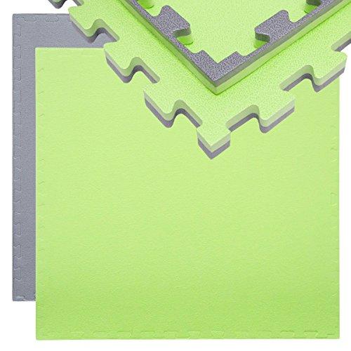 EYEPOWER 20mm Dicke Bodenschutz-Matte 90x90cm Trainingsmatte Puzzlematte erweiterbare Fitnessmatte inkl. Rand Grau Grün