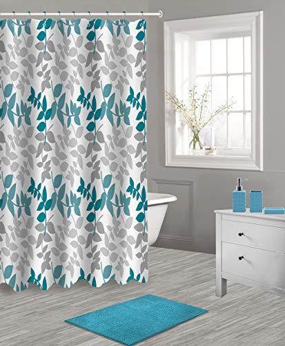 Popular Bath Shower Curtain 17 Piece Bath Set, Blue