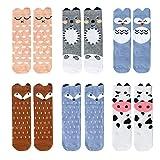 Bestjybt 6 Pairs Unisex Baby Girls Boys Kids Toddler Socks Knee High Socks Cat Fox Bear Animal Baby Stockings (12-36 months)